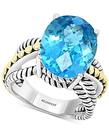 EFFY® Blue Topaz Statement Ring (9-7/8 ct. t.w.) in Sterling Silver & 18k Gold