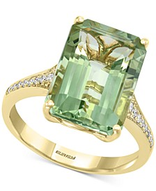EFFY® Green Quartz (7-1/2 ct. t.w.) & Diamond (1/8 ct. t.w.) Ring in 14k Gold