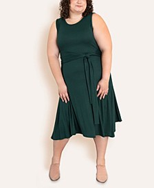 Women's Plus Size Wrap Tie Midi Dress
