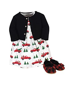 Baby Girls Christmas Tree Dress, Cardigan and Shoe Set, Pack of 3