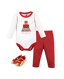 Baby Girls Christmas Gifts Bodysuit, Pant and Shoe Set, Pack of 3