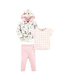 Baby Toddler Girls Enchanted Forest Hoodie, Bodysuit or Tee Top and Pant Set, Pack of 3