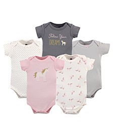 Baby Girls and Boys Gold-Tone Unicorn Bodysuits, Pack of 5