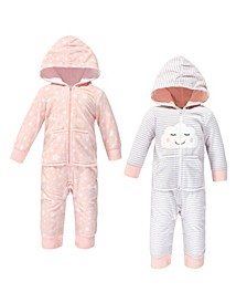 Baby Girls Cloud Fleece Jumpsuits, Coveralls and Playsuits, Pack of 2