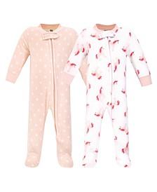 Baby Girls Unicorn Fleece Sleep and Play, Pack of 2