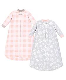 Baby Girls Snowflake Long-Sleeve Fleece Sleeping Bag, Pack of 2