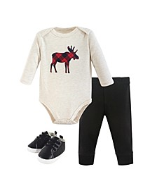 Baby Girls and Boys Plaid Moose Bodysuit, Pant and Shoe Set, Pack of 3