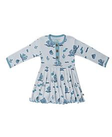 Baby Girls Sailboats Three Button Dress