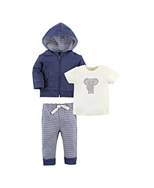 Toddler Girls and Boys Elephant Hoodie, Bodysuit or Tee Top and Pant, Pack of 3