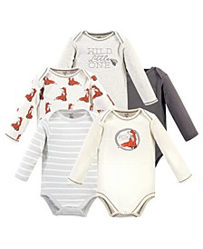 Baby Girls and Boys Boho Fox Long-Sleeve Bodysuits, Pack of 5