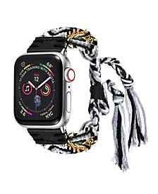 Men's and Women's Apple Black and White Friendship Cotton, Stainless Steel Replacement Band 40mm