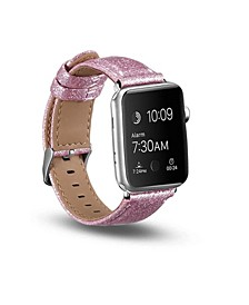 Men's and Women's Apple Pink Glitter Leather Replacement Band 44mm
