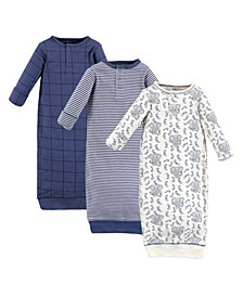 Baby Girls and Boys Elephant Henley Gowns, Pack of 3