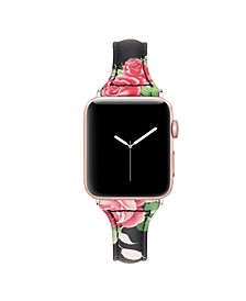 Men's and Women's Apple Black Floral Skinny Leather Replacement Band 44mm