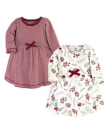 Big Girls Holly Berry Long-Sleeve Dresses, Pack of 2