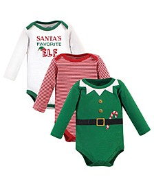 Baby Girls and Boys Elf Bodysuits, Pack of 3