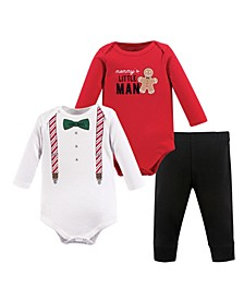 Baby Boys Christmas Suspenders Bodysuit and Pant Set, Pack of 3