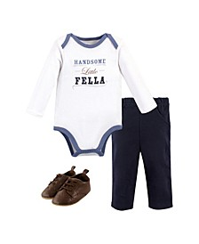 Baby Boys Handsome Fella Bodysuit, Pant and Shoe Set, Pack of 3