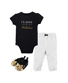 Baby Girls and Boys Classy Bodysuit, Pant and Shoe Set, Pack of 3