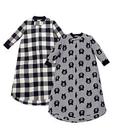 Baby Girls and Boys Bear Yoga Sprout Long-Sleeve Fleece Sleeping Bag Sack, Pack of 2