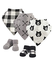 Baby Girls and Boys Bear Hugs Yoga Sprout Bandana Bibs and Socks, Pack of 5