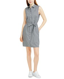Sleeveless Cotton Gingham Shirtdress