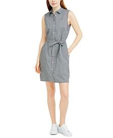 Sleeveless Cotton Gingham Shirtdress