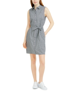 Tommy Hilfiger SLEEVELESS COTTON GINGHAM SHIRTDRESS