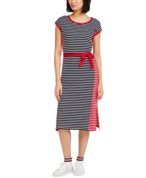 Tommy Hilfiger COLORBLOCKED STRIPED COTTON MIDI DRESS