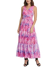 Printed Surplice Tiered Maxi Dress