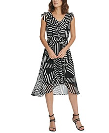 Printed Double-Ruffle Midi Dress