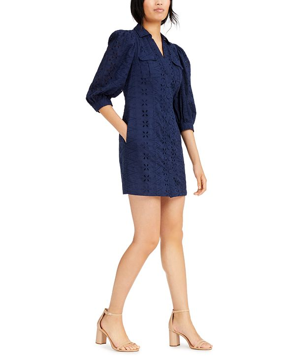 INC International Concepts INC Cotton Eyelet Shift Dress, Created for Macy's