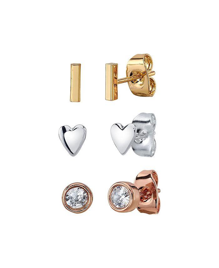 Unwritten - Three Pair Silver Plated Tri-Tone Heart, Bar, and Bezel CZ Stud Earring Set