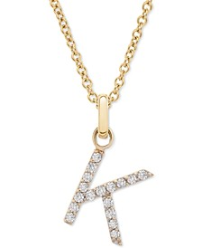 """Diamond K Initial Pendant Necklace (1/10 ct. t.w.) in 14k Gold, 17"""" + 1"""" extender"""