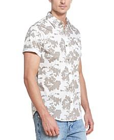 Men's Abstract Splatter Print Slub Twill Short Sleeve Shirt
