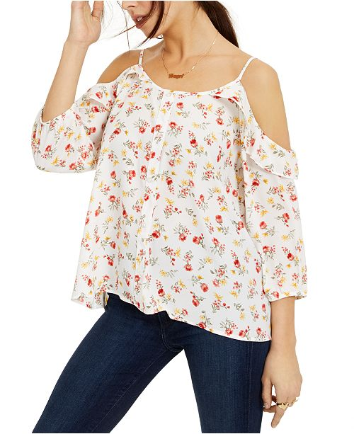Hippie Rose Juniors' Printed Button-Trimmed Off-The-Shoulder Top