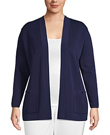 Plus Size Open-Front Patch-Pocket Cardigan