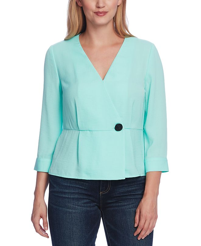 Vince Camuto Wrap-Front Peplum Top