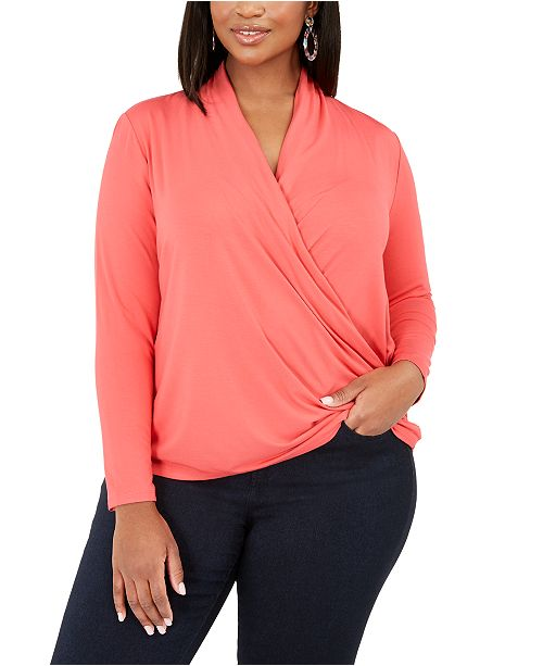 INC International Concepts INC Plus Size Surplice-Front Top, Created for Macy's