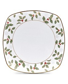 Holly & Berry Gold Square Accent Plate