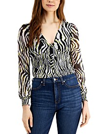 Smocked Zebra-Print Blouse, Created for Macy's