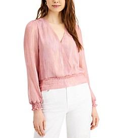 Wrap-Style Long-Sleeve Top
