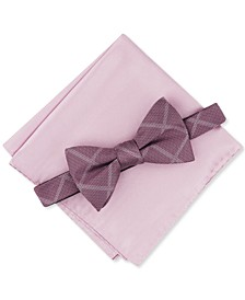 Men's 2-Pc. Pre-Tied Grid Bow Tie & Solid Pocket Square Set, Created for Macy's