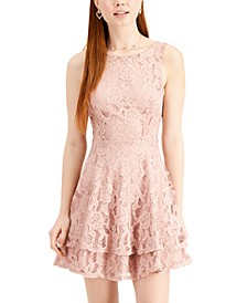 Juniors' Lace Double-Skirt Fit & Flare Dress, Created for Macy's