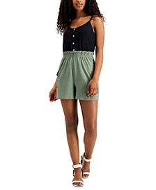 Juniors' Colorblocked Paperbag-Waist Romper