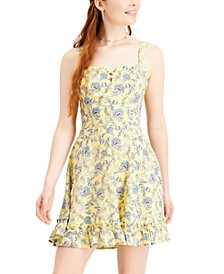 Juniors' Floral-Print A-Line Dress