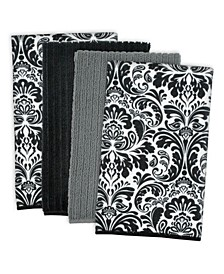 Damask Microfiber Dishtowel, Set of 4