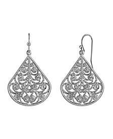 Gold Tone Filigree Pear-shaped Earrings