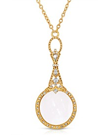 """Gold Tone Crystal Accented Magnifying Glass 28"""" Necklace"""