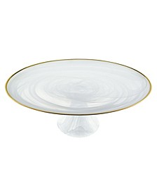 """Alabaster 13"""" Footed Glass Cakestand with Rim"""